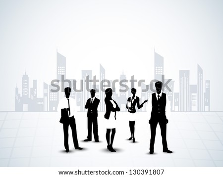 Silhouette of business persons on abstract urban city background. EPS 10. - stock vector