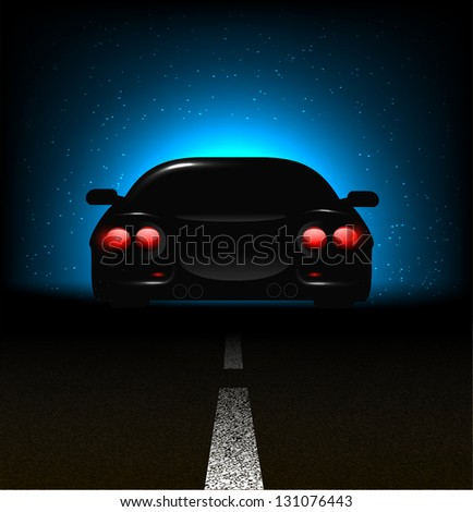 Silhouette of car with backlights on asphalt dark background. - stock vector