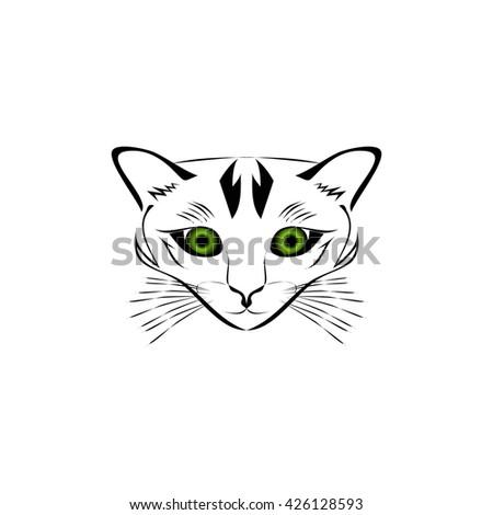 Silhouette of cat muzzle - stock vector