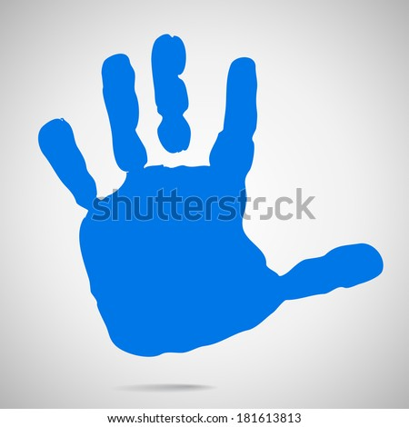 silhouette of children's hands after paint. Vector - stock vector