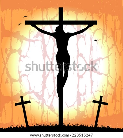 silhouette of Christ on the cross - stock vector