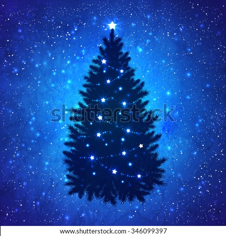 Silhouette of Christmas tree with glowing decoration on grunge watercolor dark blue background with sparkles and falling snow. - stock vector