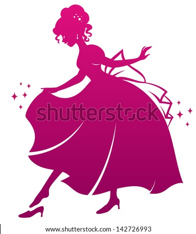 silhouette of Cinderella wearing her glass slipper - stock vector