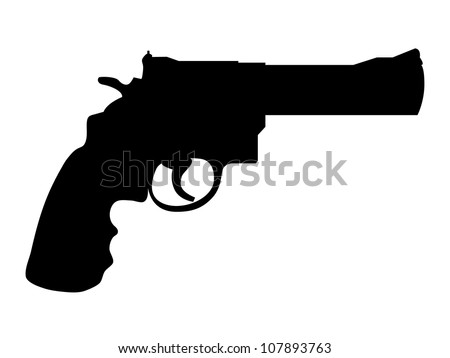 Silhouette of classic gun colt - illustration - stock vector