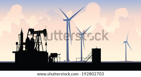 Silhouette of contrasting energy sources: an old oil well and modern wind turbines. - stock vector
