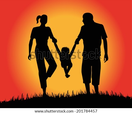 Silhouette of couple and baby at sunset - stock vector