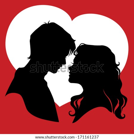 Silhouette of couple in love. Vector illustration - stock vector