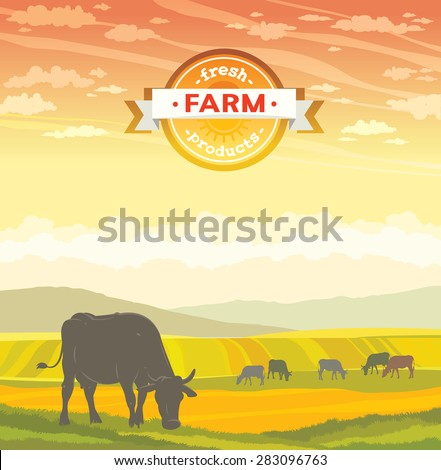 Silhouette of cow and rural landscape on a sunset sky. Vector of fresh farm products.  - stock vector