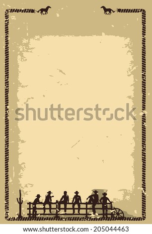 Silhouette of cowboys sitting on fence  - stock vector