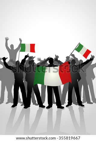 Silhouette of crowd of people cheering while holding the flag of Italy - stock vector