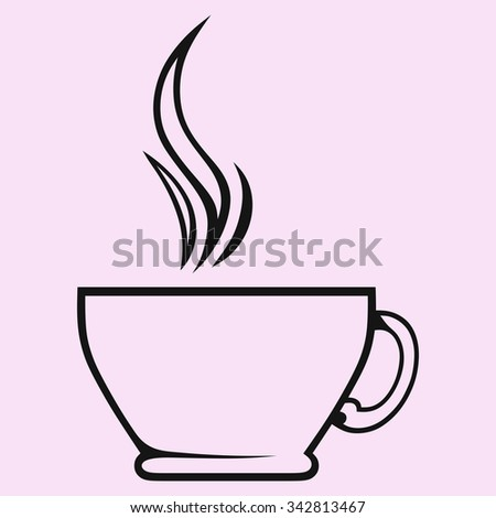 Silhouette of cup of tea or coffee, hand drawn, vector illustration - stock vector