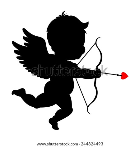 Silhouette of cupid shooting his bowpid - stock vector