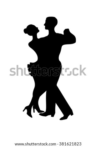 Silhouette of dancing couple, isolated on white - stock vector