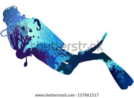 silhouette of diver. within the seabed marine inhabitants, corals and algae.vector illustration, white background - stock vector