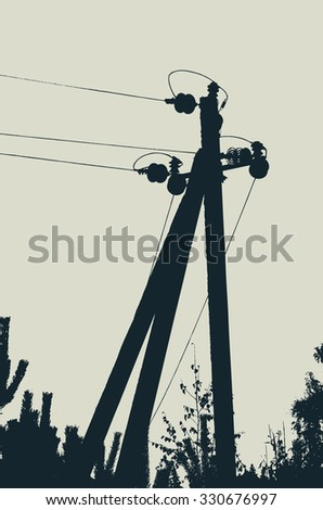 silhouette of electric pole. vector illustration - stock vector