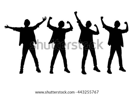 Silhouette of Excited man arise arm with white background - stock vector