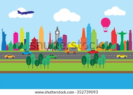 Silhouette of famous building and city, green environment concept. - stock vector