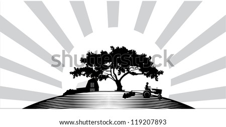 Silhouette of farmer driving tractor harrowing field at sunset with oak tree and barn background - stock vector