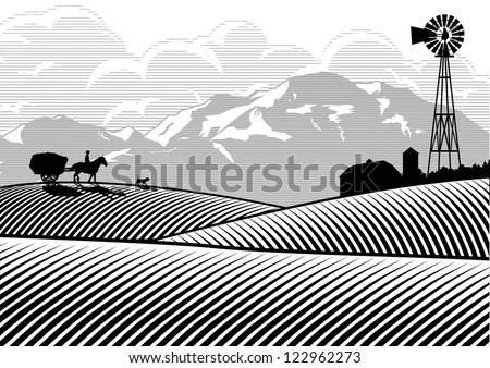 Silhouette of farmer riding a horse cart with mountains and cloud background, Vector - stock vector