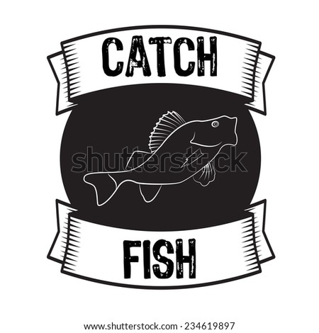 Silhouette of fish bass or perch monochrome vector illustration - stock vector