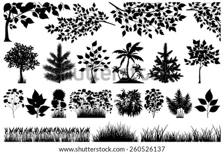 Silhouette of floral elements on white, vector illustration - stock vector
