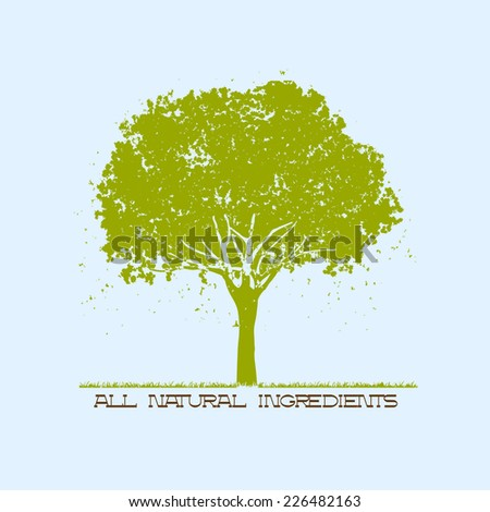 Silhouette of green tree. Vector EPS10  - stock vector