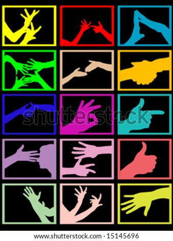 silhouette of hands - stock vector