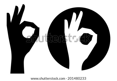 Silhouette of hands showing symbol of all ok - stock vector