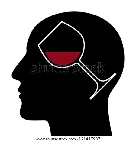 SIlhouette of head with red wine glass - stock vector