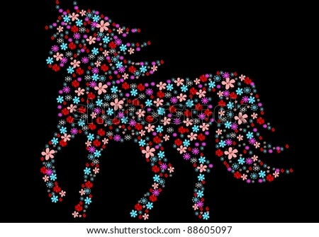 Silhouette of horse with flowers - stock vector