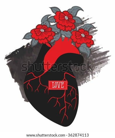 silhouette of human heart with flowers on a background of watercolor smear - stock vector
