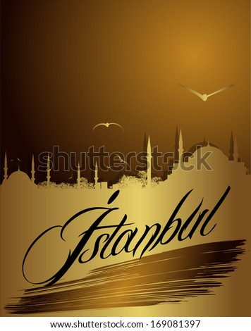 silhouette of Istanbul in golden color - stock vector