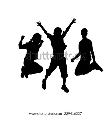 silhouette of jumping people. Vector - stock vector