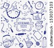 silhouette of kitchenware doodles collection - stock vector