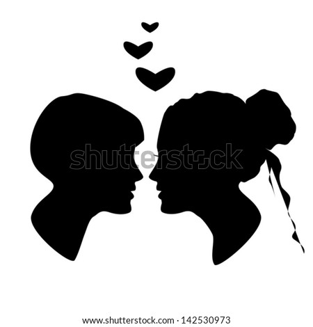 stock-vector-silhouette-of-man-and-woman-face-profile-male-female ...