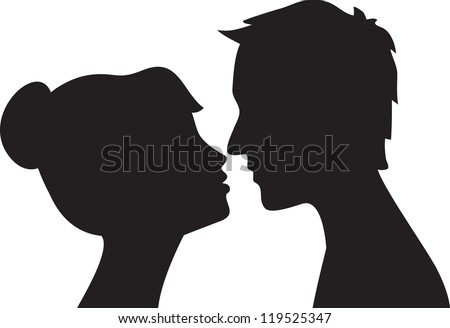 Silhouette of man and woman head profile . Couple kissing - stock vector