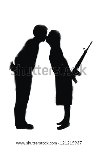 Silhouette of marriage couple going to fight in stencil style, vector - stock vector