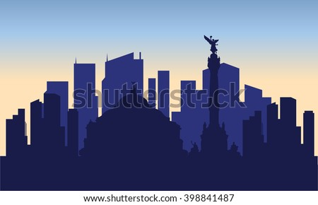 silhouette of mexico city with blue bakcground - stock vector