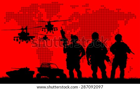 Silhouette of military soldier or officer with weapons at sunset. shot, holding gun, colorful sky, background - stock vector