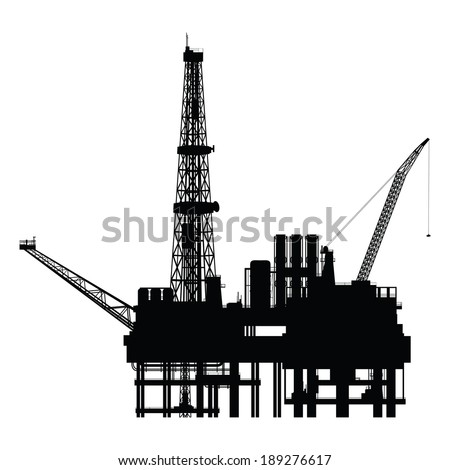 Silhouette of oil platform, vector illustration - stock vector