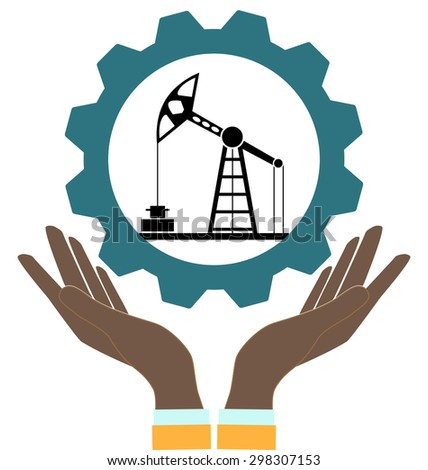 Silhouette of oil pump in hands on a white background - stock vector