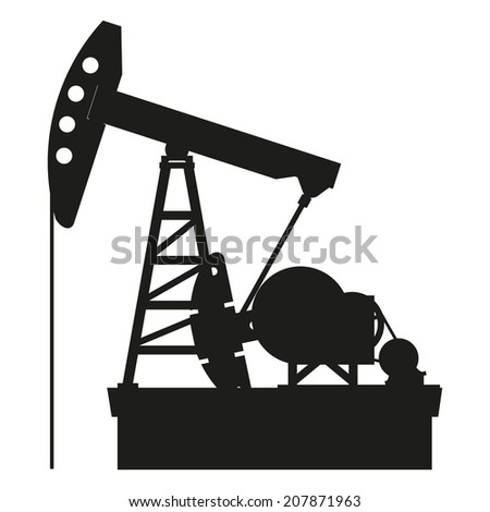 Silhouette of oil pump isolated on a white background, vector - stock vector
