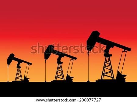 Silhouette of  Oil pump machine vector - stock vector