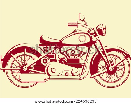 Silhouette of Old Motorcycle - Profile View - stock vector