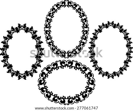 silhouette of ornate frames - stock vector