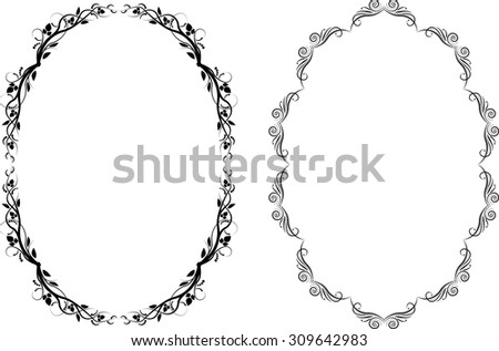 silhouette of oval frames - stock vector