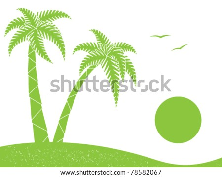 Silhouette of palm trees and sun - stock vector