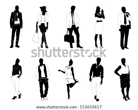 Silhouette of people - stock vector