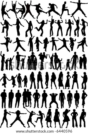 Silhouette of people - Collection , vector work - stock vector