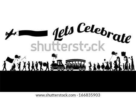 Silhouette of people parade, vector - stock vector